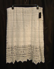 BRIGHT WHITE OPEN WEAVE CROCHETED LACE LINED PULL-UP MIDI DRESS SKIRT~18~20~NEW