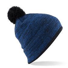 Bonnet Bleu Noir Snowboard ski sport hiver mini pompon mixte marque Beechfield