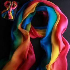 Spring&Summer Women Rainbow Long 60x20 inches Chiffon Scarf Wrap Shawl Scarves