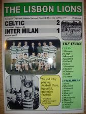 Celtic 2 INTER MILAN 1 - 1967 europeo FINALE DI COPPA-Lisbona LEONI-stampa souvenir