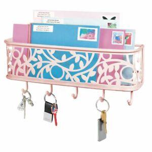 mDesign Metal Wall Mount Entryway Storage, Mail Sorter Basket - Light Pink