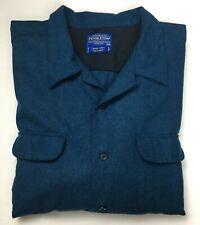 Mens Pendleton Wool Board Shirt Size XXXL Dark Blue/Teal L/S Machine Wash EUC