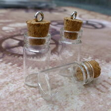 10 pcs Glass Vials Mini Bottles with Corks Perfume vials message bottle charms