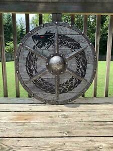 Medieval Greek Round Shield Medieval Grey Ouroboros Battle worn Viking Shield