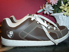 Athletic shoe brown leather w/beige stitching size 12M in excellent condition