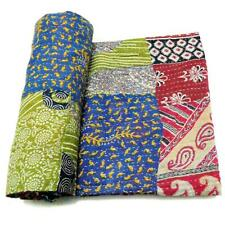 patchwork Kantha Quilt Handmade Cotton Bedspread Couch Cover Blanket Throw PB48