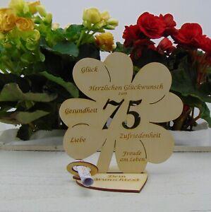75 Geburtstag Personalisiert Geldgeschenk Kleeblatt 16 cm Tischdekoration Holz