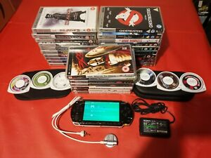 SONY PSP SERIES 1003 BUNDLE CONSOLE CHARGER CASE - 33 GAMES/UMDs - £1 START!