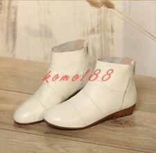 Womens zip up ankle boots low wedge heel plus size fashion shoes