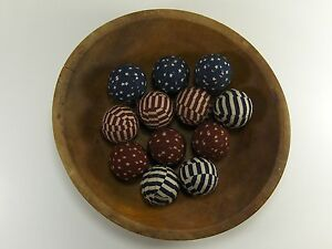 "12 Primitive Country 1.5"" Americana  Fabric Rag Balls Jar Bowl Basket Filler"