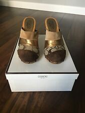 Coach - Signature Brown/Gold Wooden Mule Clog Size 7 & 1/2