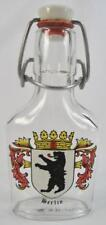 Berlin Coat Of Arms Vintage Swing Top Clear Glass Flask Bottle Germany Decals O