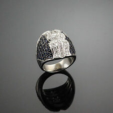 HIGH END 3.50 CT. SAPPHIRE & DIAMOND COCKTAIL RING 18K SOLID WHITE GOLD US7.75