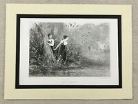 1874 Antique Print Young Girls Reed Gathering Landscape Painting Gustave Jundt