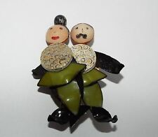 CILEA Paris Resin man woman couple BROOCH pin figural costume jewelry Whimsical