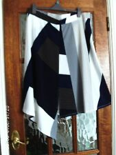 BNWT NEXT Navy Cream Block Pattern A-Symetric Point PULL ON ELASTICATED Skirt 8