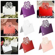 10x Carte Invitation Porte Nom Coeur Marque-Place Papier Fête Mariage Noël Table