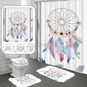 4Pcs Bath Beach Shells Shower Curtain Dream Catcher Toilet Mat Seat Cover Rug