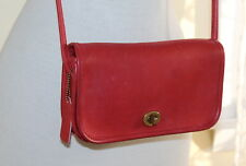 Vintage 70s COACH Crossbody Bag, 1521, Red Leather, Made in New York City