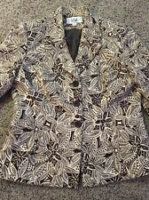 LeSuit S/S Tribal Floral 3 Button Brown Tan Lined Blazer Sz 10 Gently Used