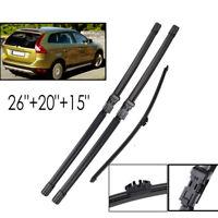 "Front Rear Window Rain Windshield Wiper Blades For Volvo XC60 09-11 26""20""15"""