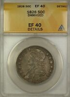 1828 Capped Bust Silver Half Dollar 50c Coin ANACS EF-40 Details Damaged