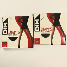Lot of 2 DIM Diam's Voile Galbé Shaped Sheer Flat Seam BLACK Panty Hose Sz Small