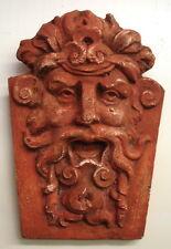 Terracotta Gothic Green Man Wall Plaque Wine God Dionysus Greek Gothic Art