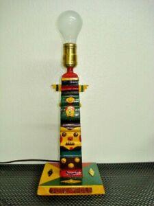 Vtg Hand Carved, Handcrafted Wooden TOTEM POLE LAMP Colorful Children's Decor