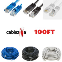 100ft Cat5e Patch Cord Ethernet LAN Network RJ45 Cable Cat5 Wire Black Gray Blue