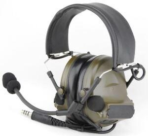 Airsoft headset tomtac comtac ii 2 mic boom radio peltor design od green