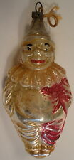 German Christmas Ornament c.1930's Glass Clown Pink Silver Orange Sweet
