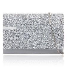6a53da26d3 Stylish Silver Glitter Sparkle Wedding Ladies Party Prom Evening Clutch  Hand Bag
