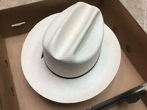 Stetson 7X Rancher Shantung Panama Straw Cowboy Western Hat • 7 3/8 Long Oval