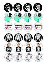 24 Glaseado Cupcake Cake Toppers Decoración rayos X de rayos X, radiología médica