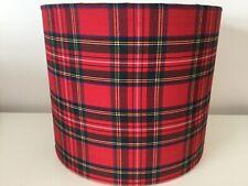 25cm Handmade drum fabric Ceiling Light Shade Traditional Red And Black Tartan