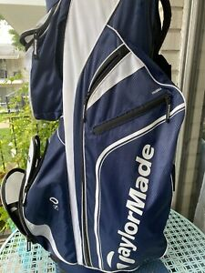 taylormade Blue And White golf bag cart With Rain Cover