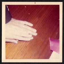 PAINFUL HAND CRUSH LOVER MAN & WOMAN SHOW oFF CHEAP RINGS ~ 1960s VINTAGE PHOTO