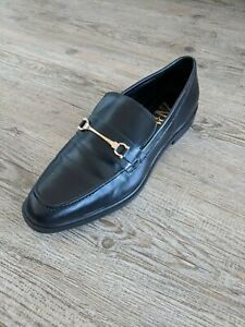 ZARA Black & Gold snaffle horsebit preppy loafers UK 5 38