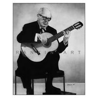 "Andres Segovia Charcoal Drawing Classical Guitar 11x14"" Music Art Print Poster"