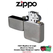 Zippo 1941 Replica Lighter, w/ Logo, Black Ice Finish, Genuine Windproof #24485