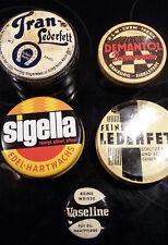 5 x antike Blechdose Sigelle Hartwachs Lederfett Demantol Vaseline Dose Werbung