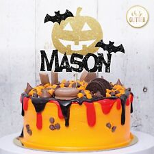 Halloween Cake Topper pumpkin Party Birthday Personalised Custom Gold Glitter