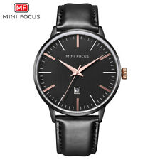 MiniFocus For Mens Quartz Watch Leather Calendar Date Gents  2021 Black Analog