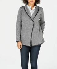 Charter Club Knit Quilted Faux Leather Trim Jacket Gray XL