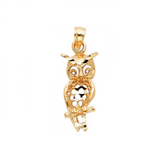14K Solid Yellow Gold Owl Pendant - Bird Diamond Cut Necklace Charm Women Men