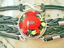 Poppy Flower Glass Cabochon Bracelet Love Adjustable Black Faux Leather Corded