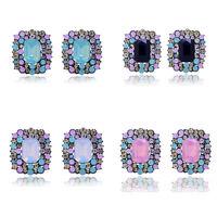 Fashion Women Lady Elegant Colorful Crystal Rhinestone Ear Stud Earring Jewelry