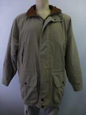 NAUTICA tan leather collar zip up long winter Coat waist cord lined mens Medium