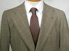 vtg Chipp gold brown glen plaid 100% wool 2 btn blazer sport coat USA 40R trad